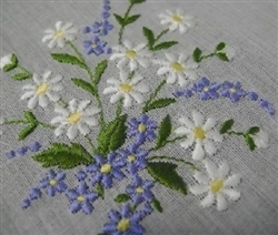Daisies amp blue forget me nots hankie for the bride to be swiss embroidery