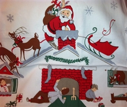 Vintage Repro Twas The Night Before Christmas Tablecloth 65x52