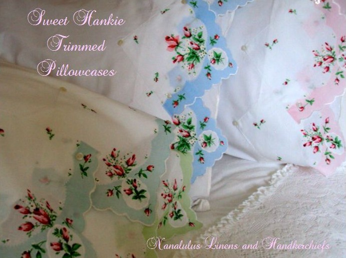 Linen Pillowcases Embroidered Crocheted